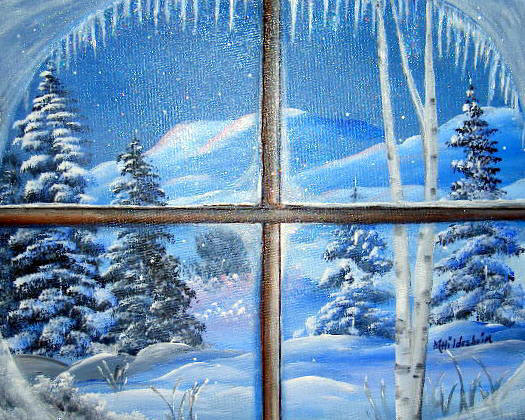 окне фото на рисунок зимой